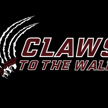 """Podcast logo for Claws to the Wall. A bobcat claw is ripping through the black background next to the words """"Claws to the Wall."""""""