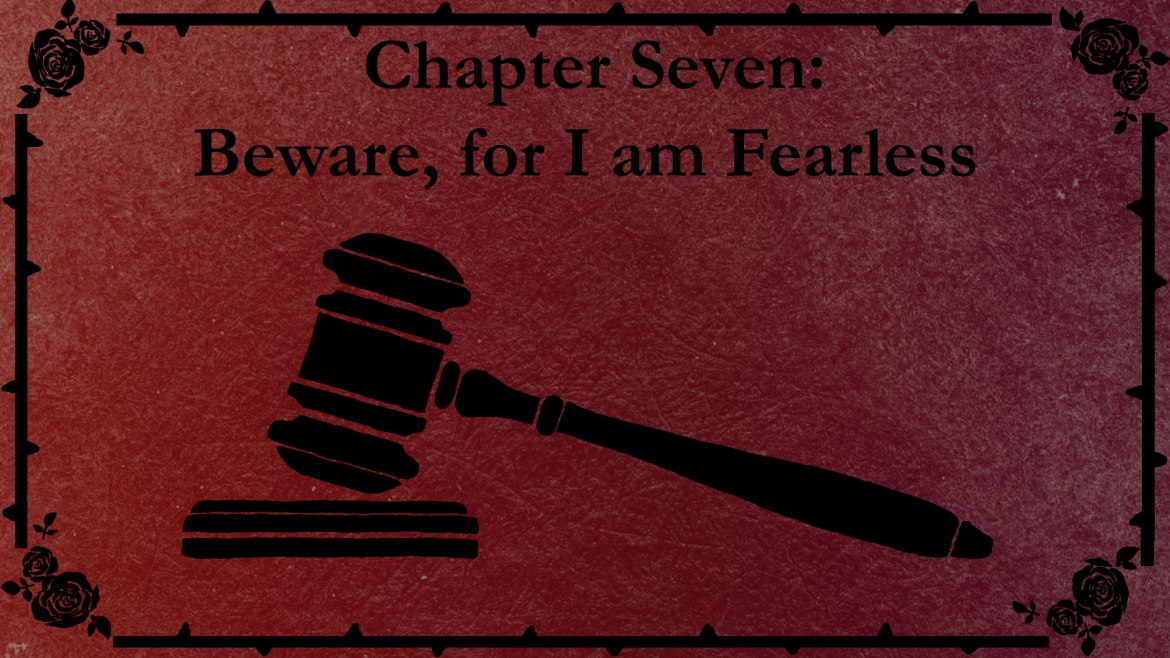 Chapter Seven title slate with a drawing of a gavel.