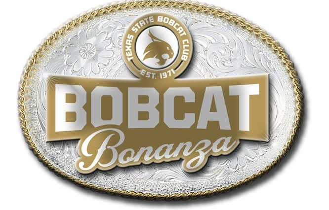 """An image of a gold and silver belt buckle that reads """"Bobcat Bonanza"""" and has the Texas State Bobcat Club logo above the """"Bobcat Bonanza"""" title."""