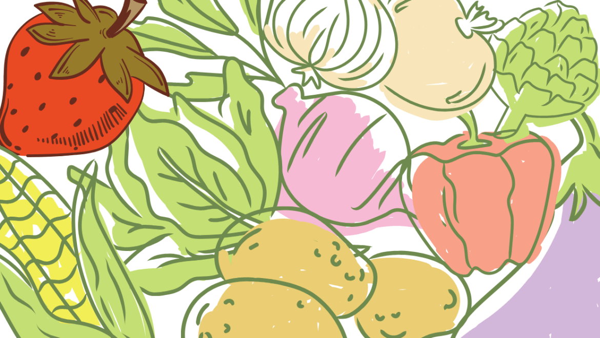 different types of produce drawings