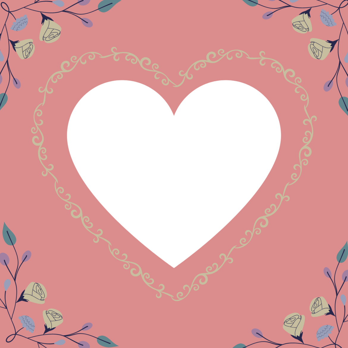 A medium-sized white heart outlined with flowers with a pink background