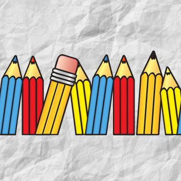 Pencils of blue, yellow, and red colors with a white background