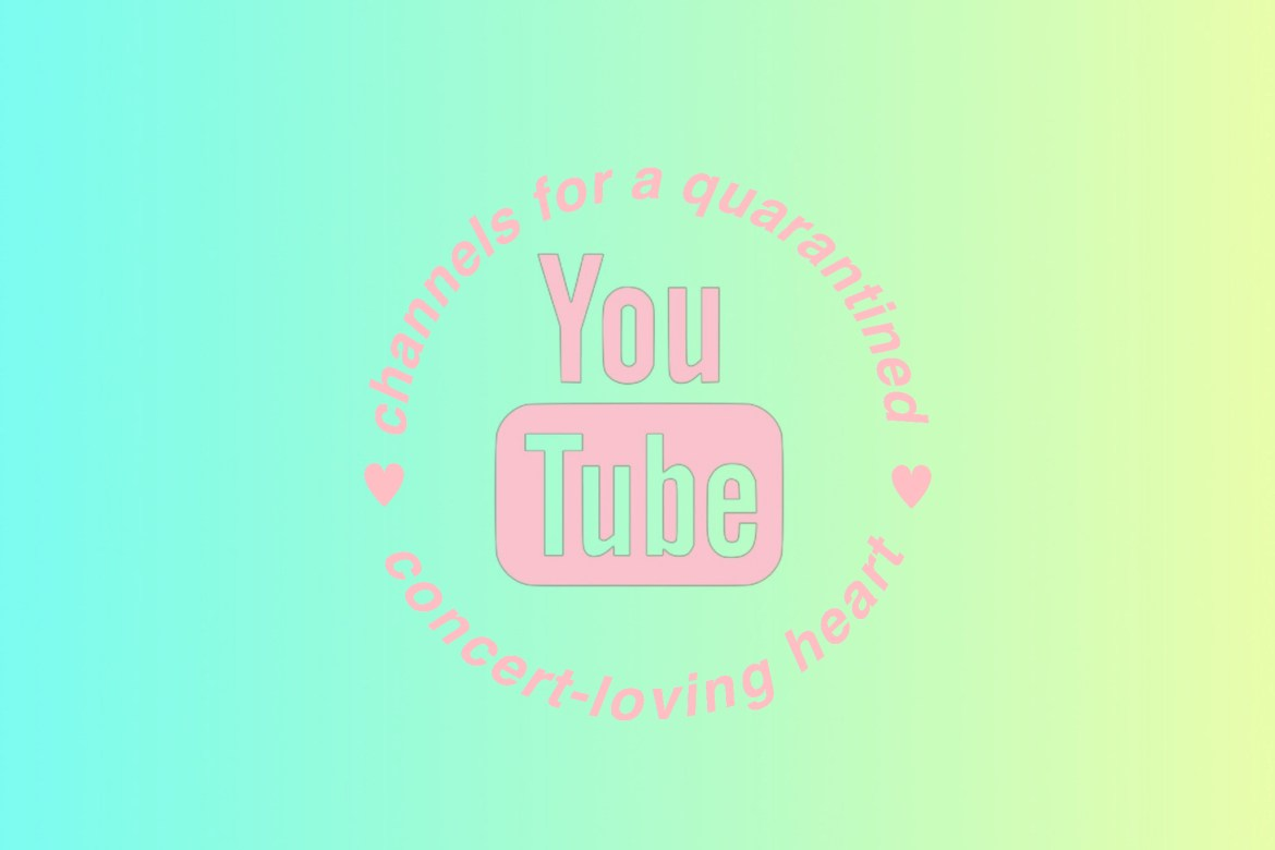 """In the background you can see a blue to yellow gradient. In the foreground the youtube logo is in the center with the words, """"channels for a quarantined heart"""" going around it in a circle. All text is in a baby pink color."""