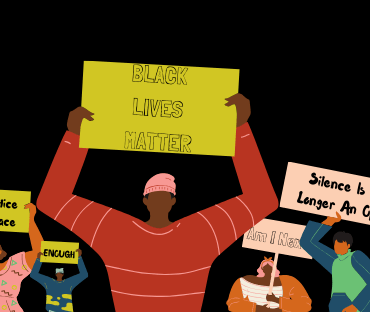 """The Image contains multiple black people holding signs in protest that say """"Black Lives Matter"""", """"I' Can't Breathe"""" and multiple others."""