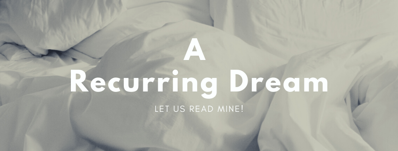 """""""A Recurring Dream"""" text over a white bunch up blanket."""