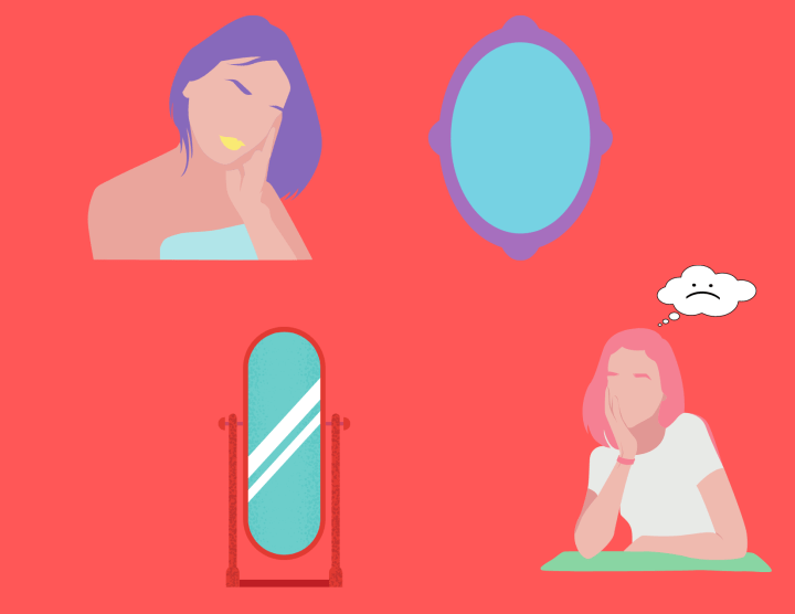 On a pink background, two women, one with pastel pink hair and the other with pastel purple hair, are looking into mirrors reflecting on what they see looking back at them.
