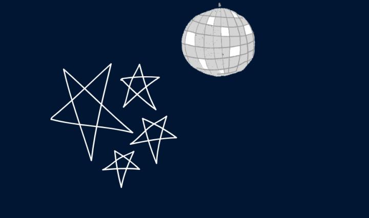 a disco ball and stars