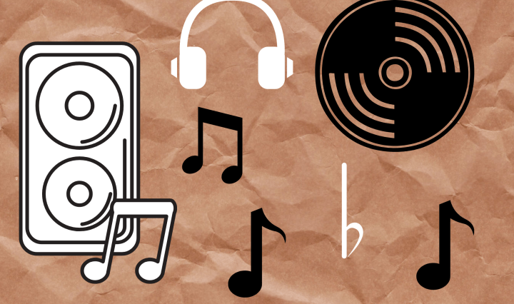 speaker, music notes and headphones on a paper bag background