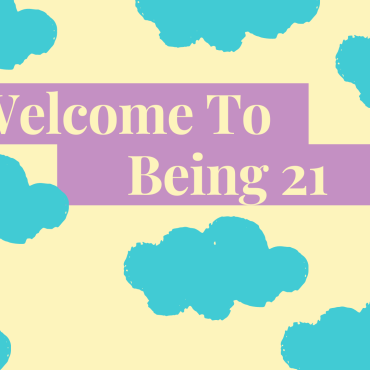 """Pale yellow background covered with blue clouds with yellow words in the middle that read """"Welcome To being 2""""."""