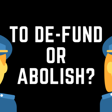 Two emoji police officers one a woman one a man, with yellow skin on a black background with the words to de-fund or abolish in between them