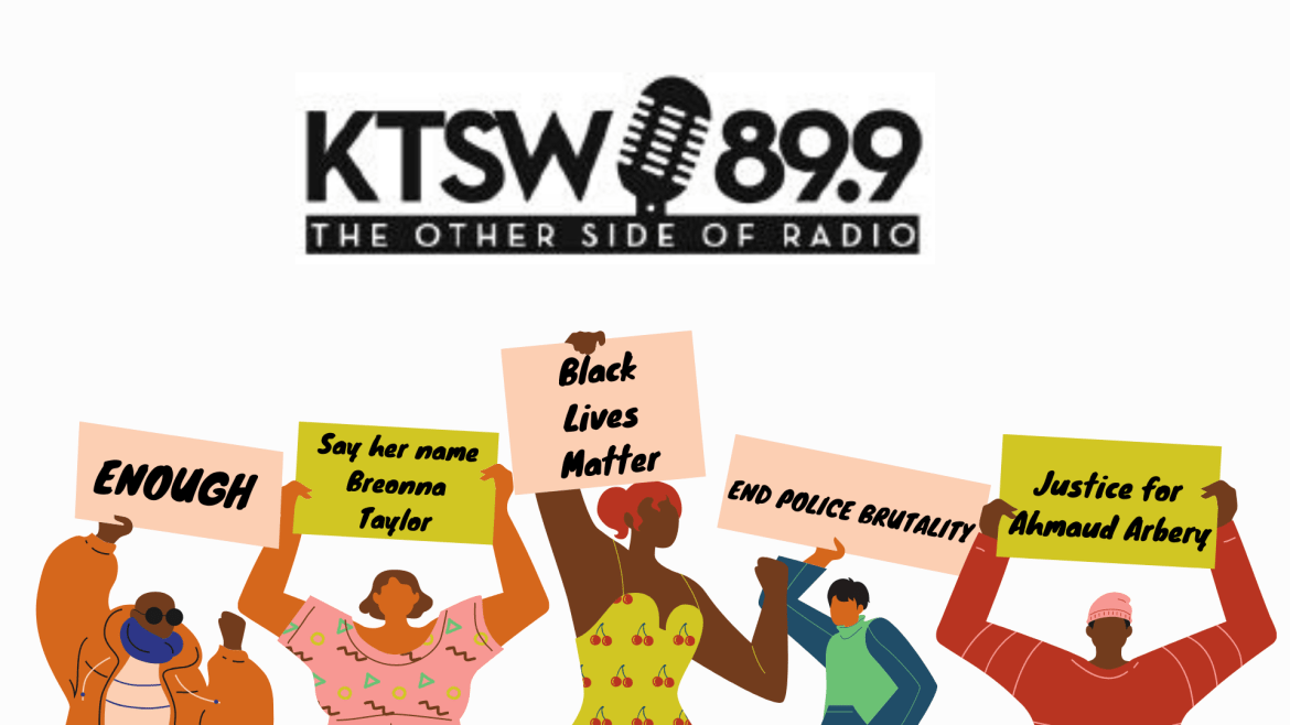 black lives matter signs being held by drawn black figures with the ktsw 89.9 logo above on a white back ground
