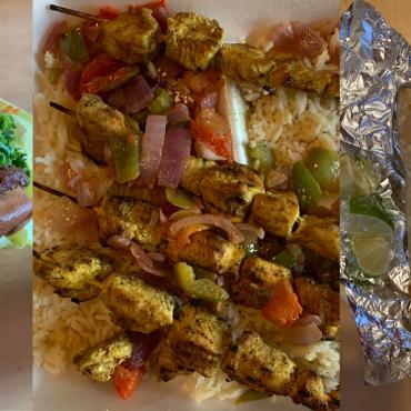 Photos of chicken, burger, and taco.