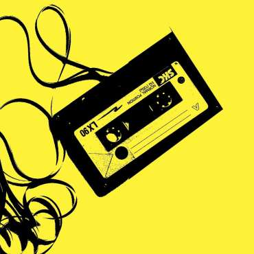 The image is of a cassette tape with a yellow background