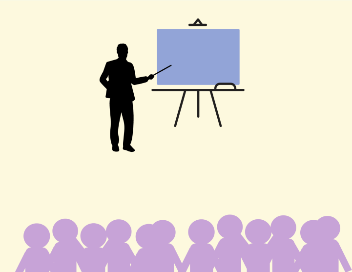 man standing in front of bored teaching to a crowed