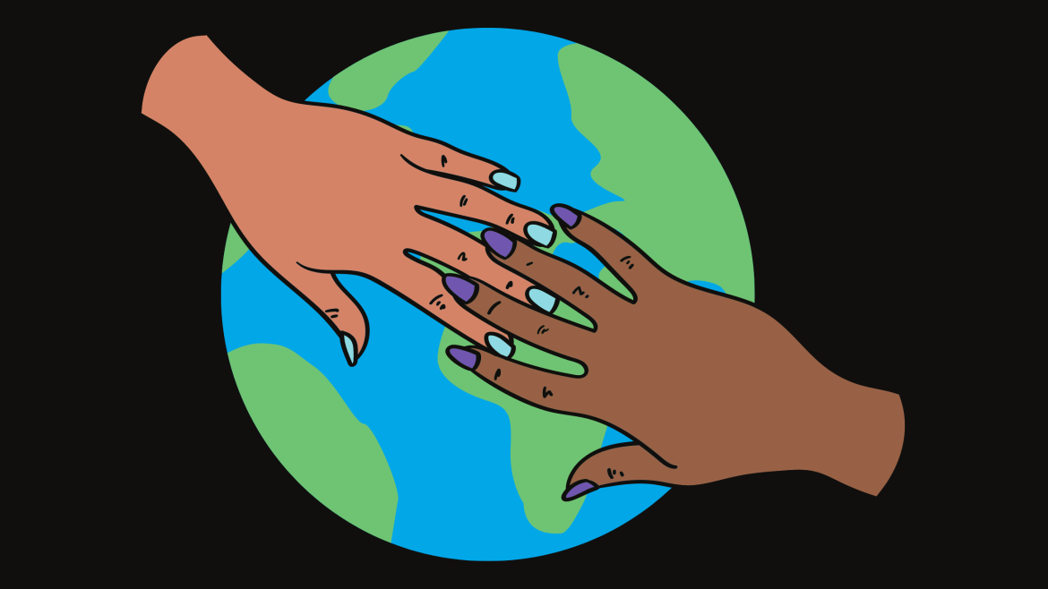 Image hands reaching for one another over image of Earth.