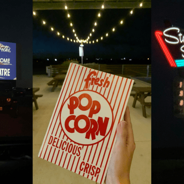 Collage of photos from the movie theater including popcorn, the screen, and signs
