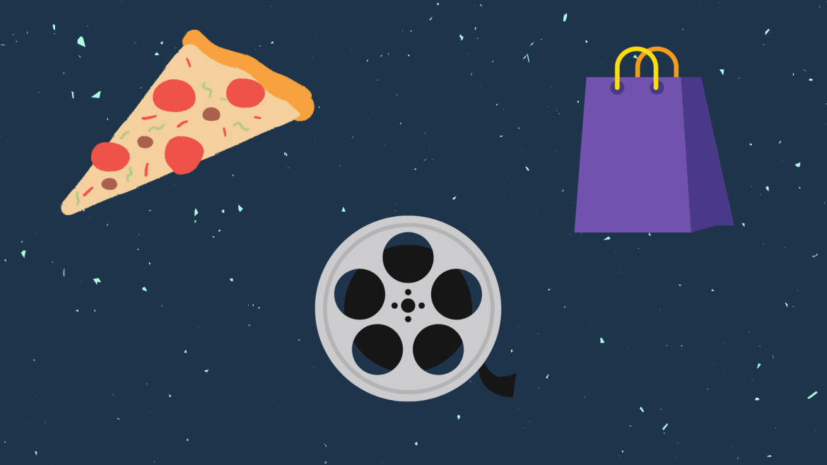 A photo of food, movie reel, and shopping bag