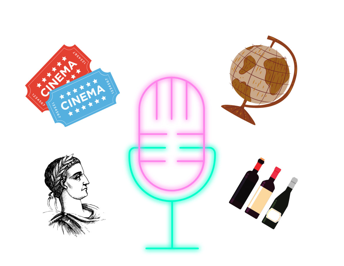 Several images/icons, including a microphone, globe, wine bottles, a pair of movie tickets, and a historical figure are placed on a white background.