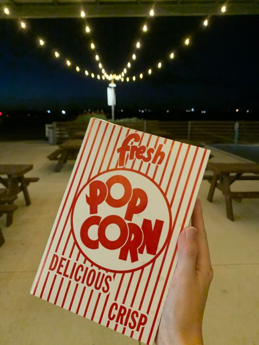 Outside the concession's stand at Stars and Stripes of some popcorn