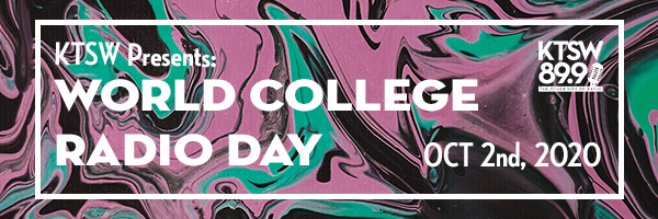 Marble black, pink and teal background with a white type that says college radio day on October 2.