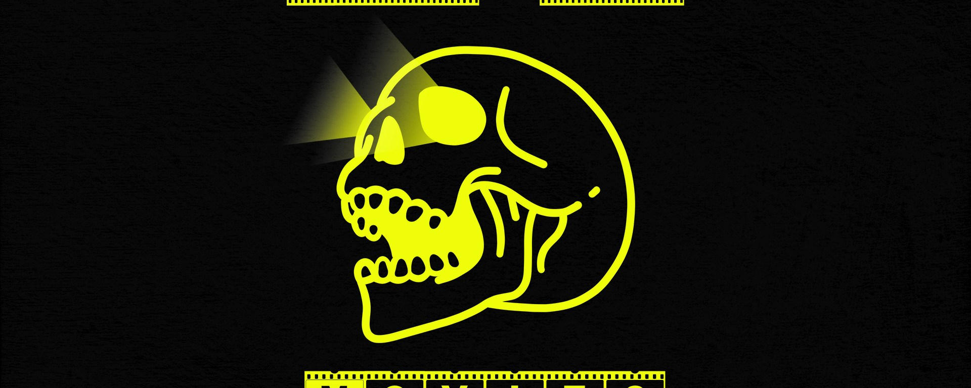 black background with yellow skull and yellow text saying good bad movies