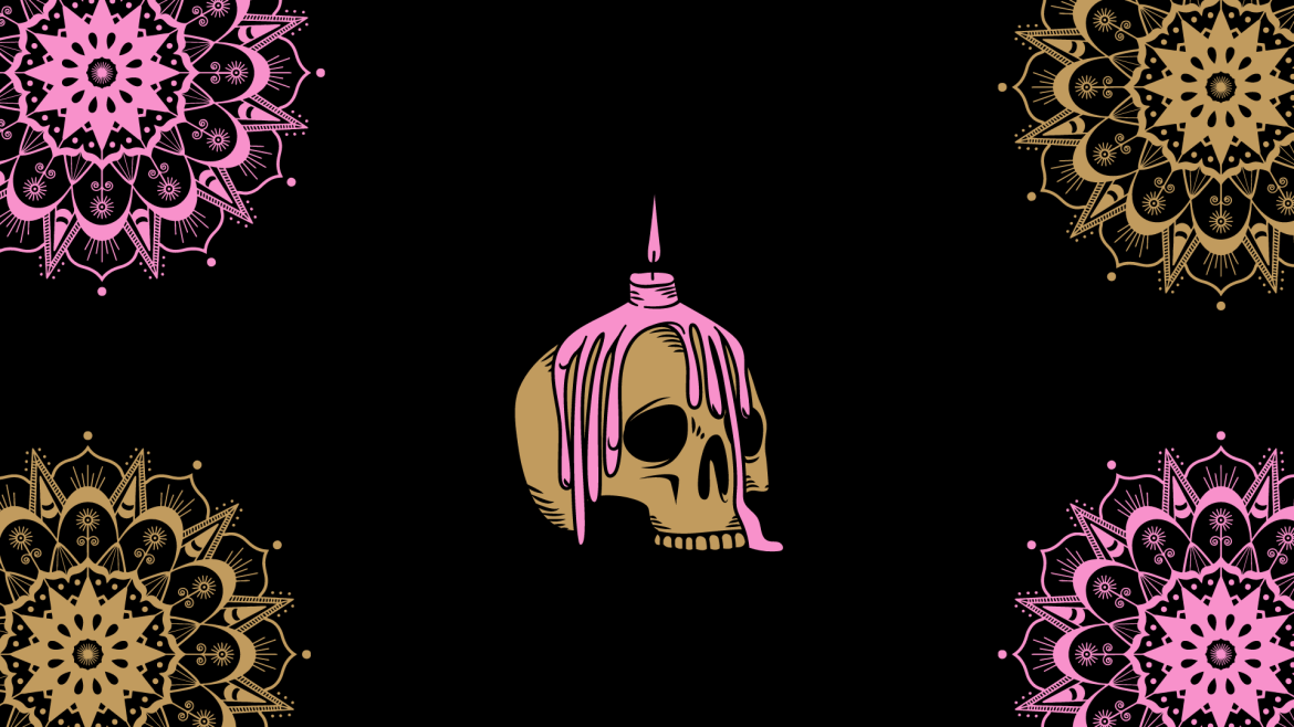 A skeleton head covered in pink candle wax on a black ground with pink and brown mandalas in the corner