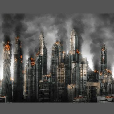 Burning city buildings against a dark grey backdrop