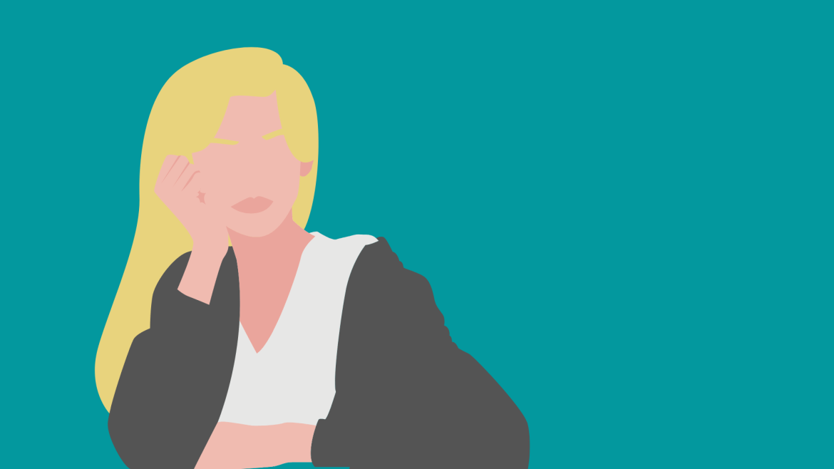 Animated girl on a teal background.