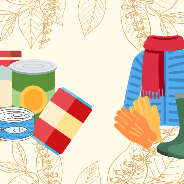Drawing of cans and clothes
