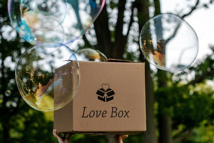 Image of the Love Box outdoors with bubbles that's provided to foster care families by Austin Angels.