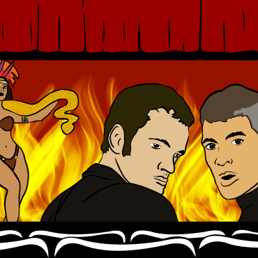 Movie theatre illustration with characters from dusk till dawn on the screen
