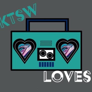 KTSW Loves written over teal boom box