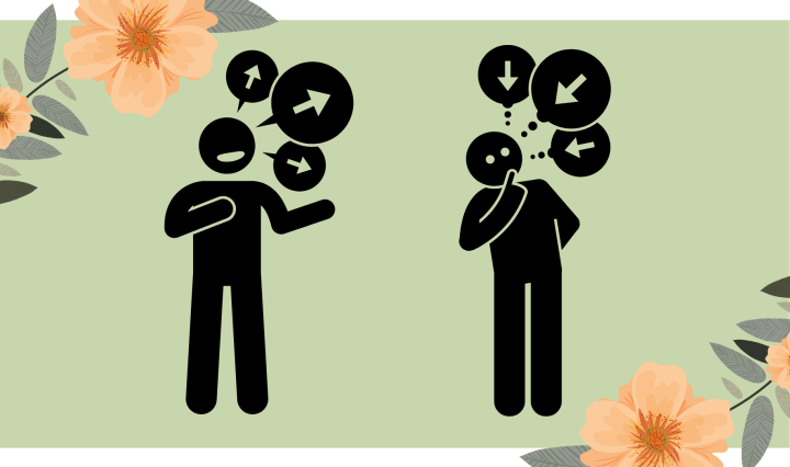 Image of two stick figures, one intaking information while the other exerts information.