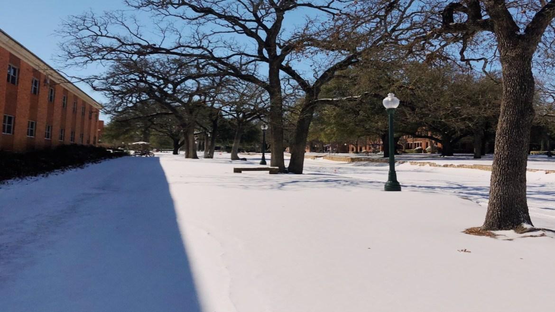 The snow at Tarleton State University's campus