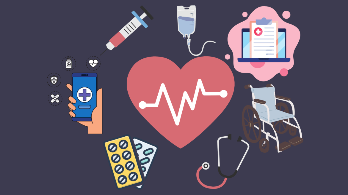 Illustration of a heart, and various cartoon drawings of medical items such as masks, IV drips, and technology surrounding it.