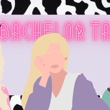 """Image of three cartoon girls in front of the title, """"The Bachelor Talk"""" with a cow print trim"""