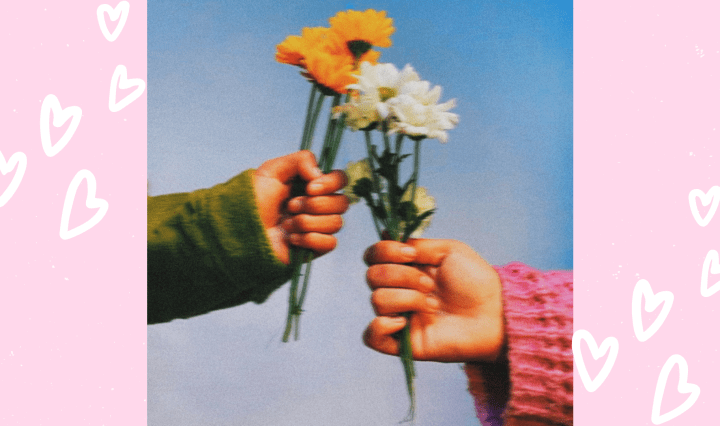 """""""Eros of Dream"""" EP cover art by Martin Delgado, an image of two hands holding flowers."""
