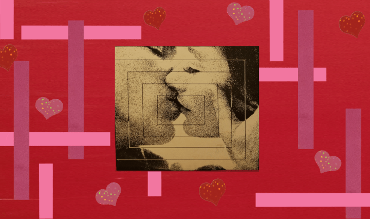 """Image of picture taken of """"A Man and A Woman"""" soundtrack album surrounded by heart stickers and textured shapes"""