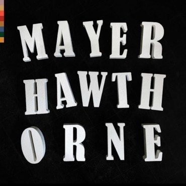 black background with multicolor tabs on the left top corner with Mayer Hawthorne spelled out in white