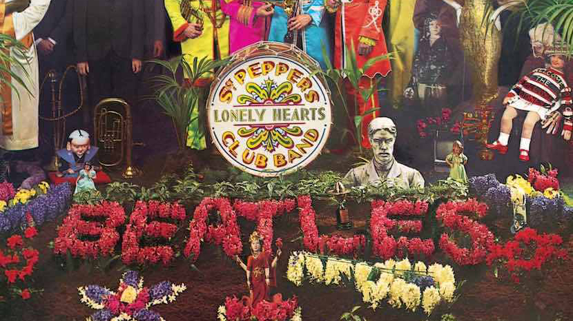The beatles 8th studio album cover, featuring the Beatles and many interesting characters in row formation