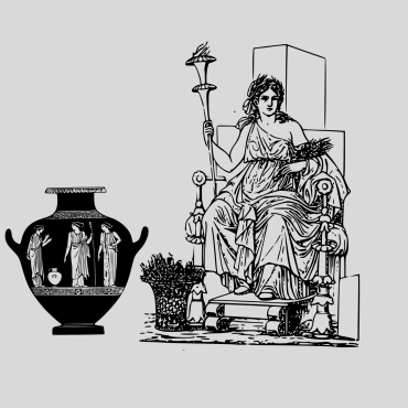 A large image of a male Greek god, and the black illustration of three ancient women on a vase is beside him.