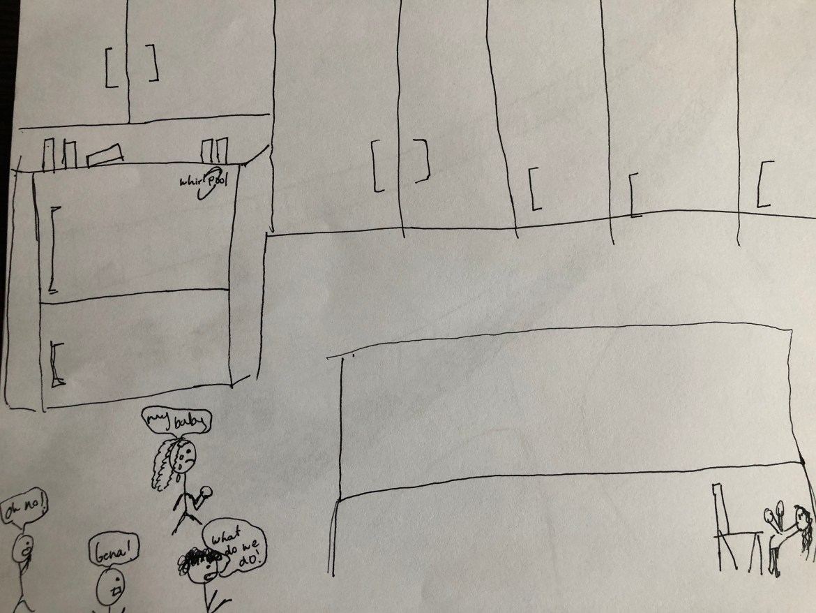 Drawing of a room with someone fainting in the middle