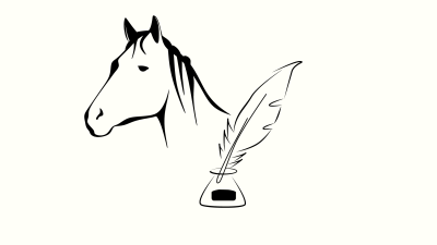 Illustration of a black horsehead outline and an ink well with a feather