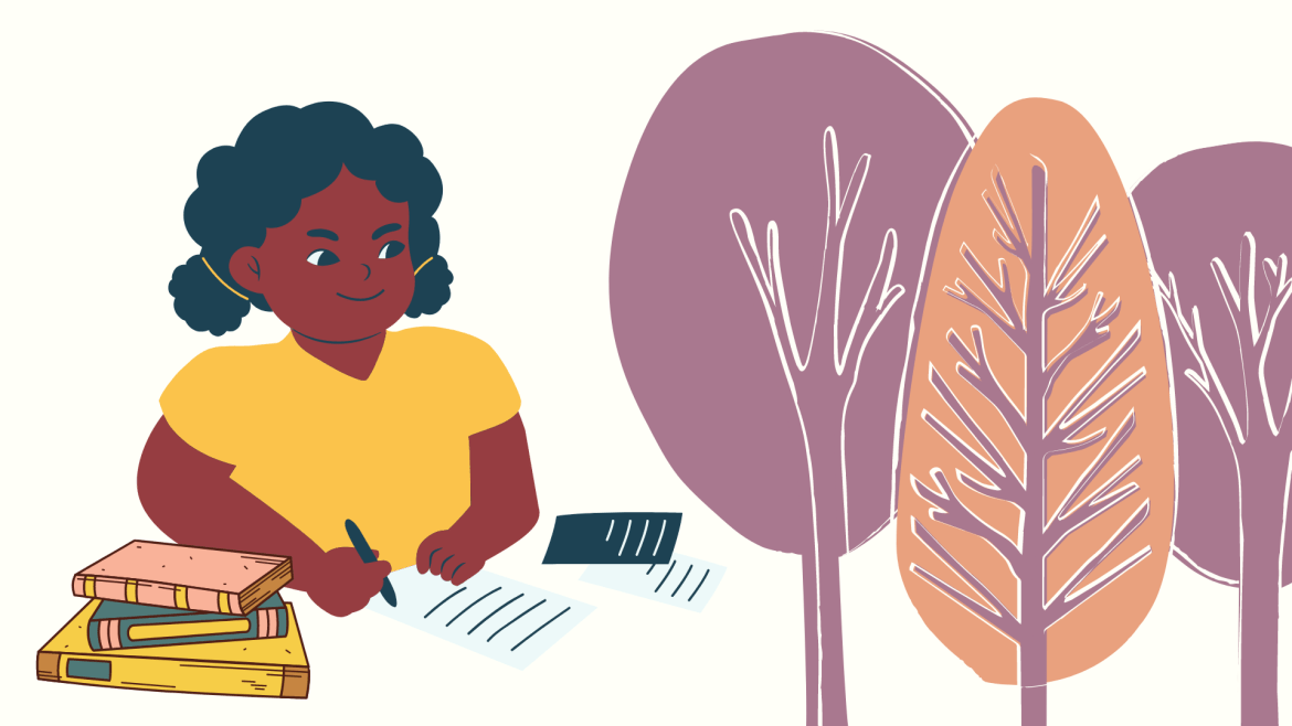 Illustration of a woman writing with books beside her and purple and pink trees to the left in the background.