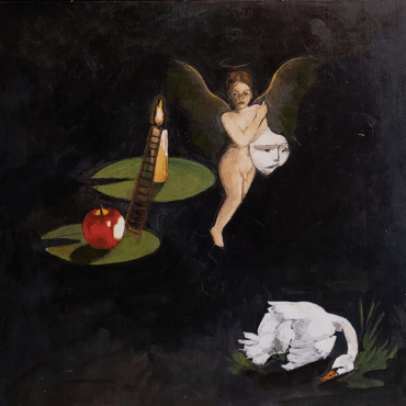 Art cover for album Blood, Piss, Religion, Pain which features an illustration of a surreal-like naked fairy, swan, apple and ladder leading up to a burning candle.