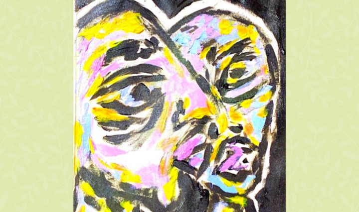 """Kendra Sells' new single, """"U n Me"""" album art, which features two abstractly painted heads."""