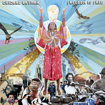 An abstract cover with an indigenous woman worshiping a sun above policemen, dead people, guns, and police brutality.