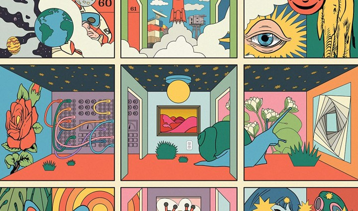 The album cover is a psychedelic interpretation of different rooms