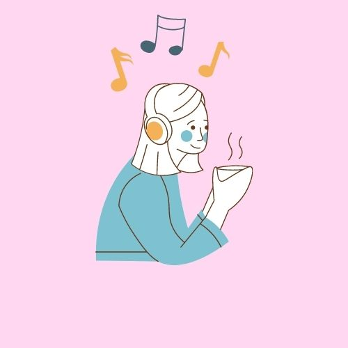 Solid light pink background with a woman listening to music through her headphone and multi-colored (orange and blue) music notes above her head.