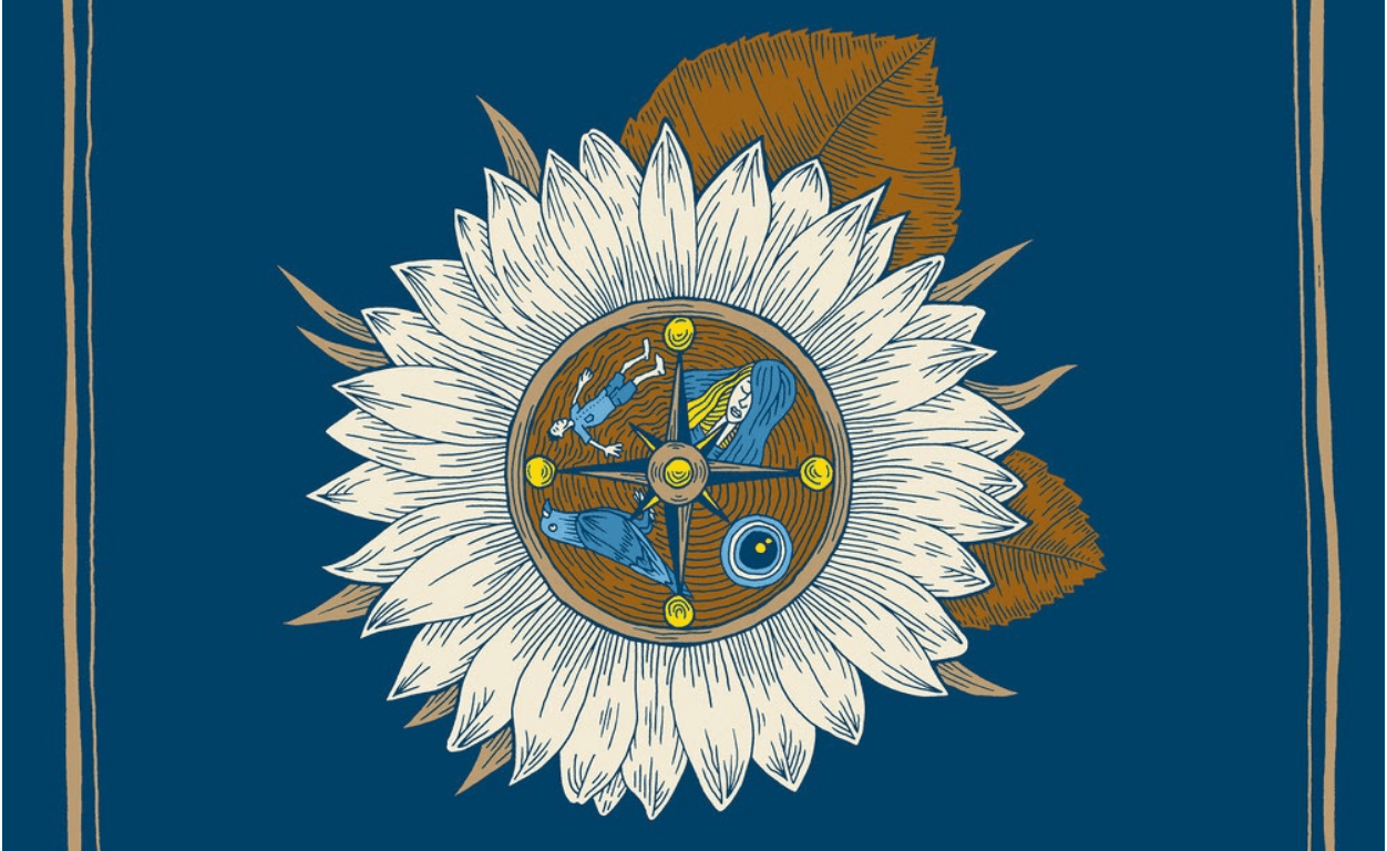 White flower with a compass in the middle marginalized in a gold square in a navy blue background